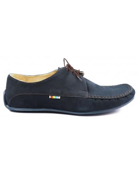 Granatowe półsportowe buty męskie z nubuku T84