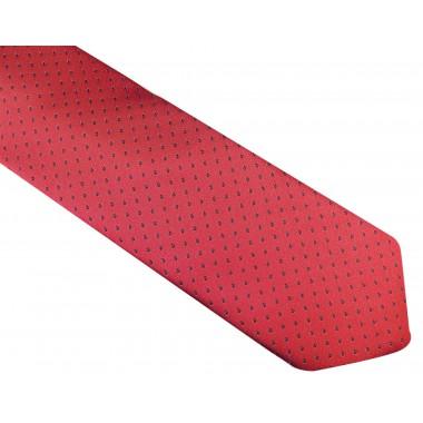 Czerwony krawat męski w czarne kropki D128
