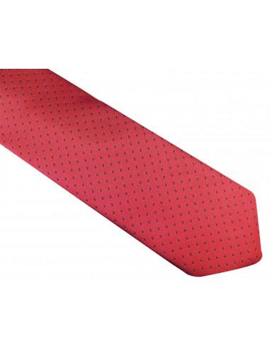 Bordowy krawat męski w czarne kropki