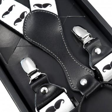Białe szelki męskie w czarne wąsy SZ58