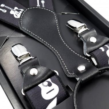 Czarne szelki męskie w białe gitary SZ65