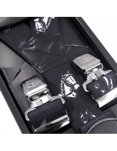 Czarne szerokie szelki męskie w konie T15