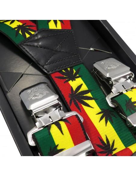 Kolorowe szerokie szelki męskie z motywem jamajskim T16