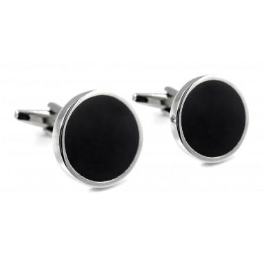 Czarne okrągłe spinki do mankietów N57