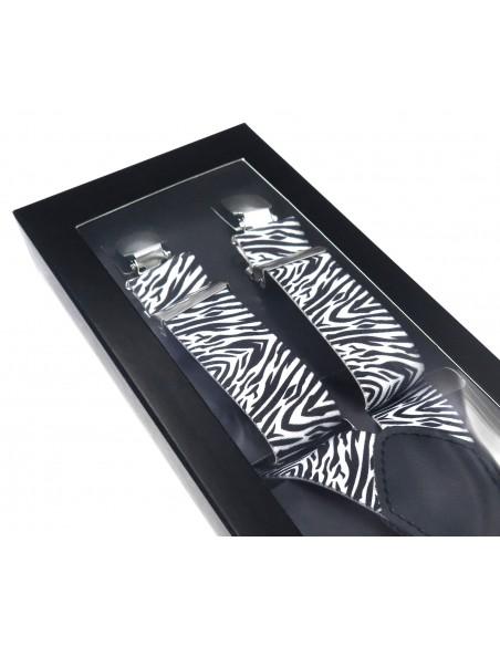 Czarno-białe szelki unisex - wzór zebry X13