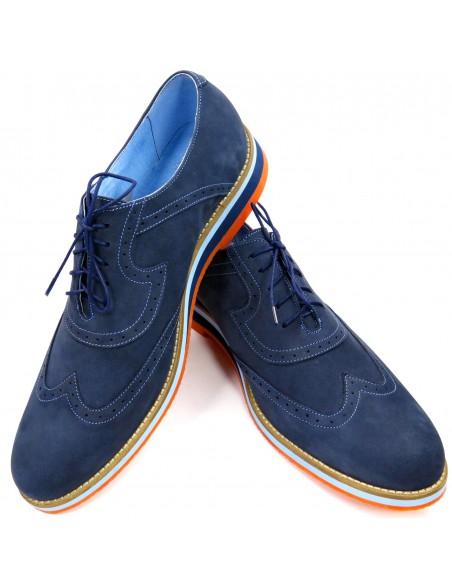 Granatowe męskie buty casualowe z pomarańczową podeszwą