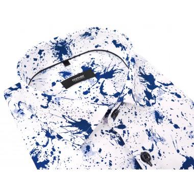 Koszula męska w granatowo-niebieskie plamy - długi rękaw 026