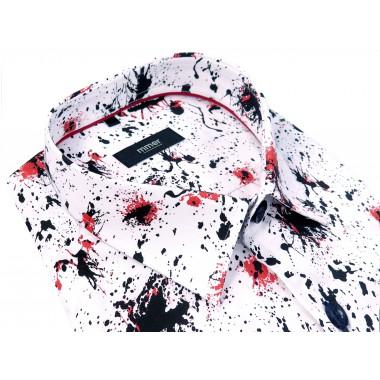 Koszula męska w czarno-czerwone plamy - długi rękaw 025