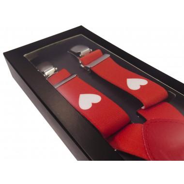 Czerwone szelki w białe serca unisex X14