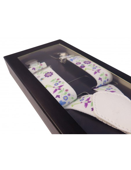 Białe szelki w kwiaty unisex X15