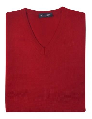 Czerwony sweter męski w szpic SW25