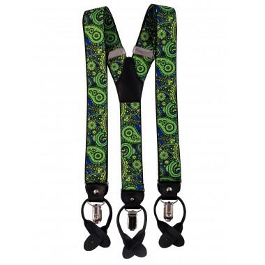 Zielono-niebieskie szelki we wzór paisley na żabki i na guziki G44