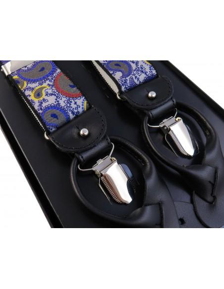 Szaro-fioletowe szelki we wzór paisley na żabki i na guziki G58