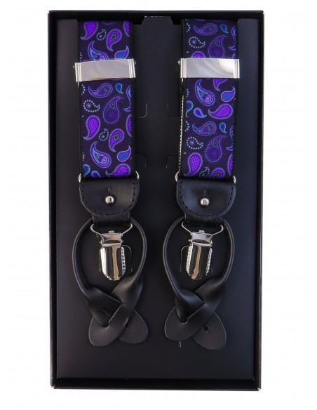 Granatowo-fioletowe szelki we wzór paisley na żabki i na guziki G59