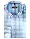Koszula męska z długim rękawem w błękitno-niebieską kratkę 423