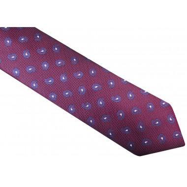Fioletowy krawat męski w granatowo-biały paisley D32