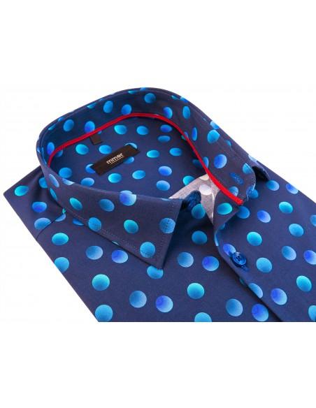Granatowa koszula męska w kropki 719