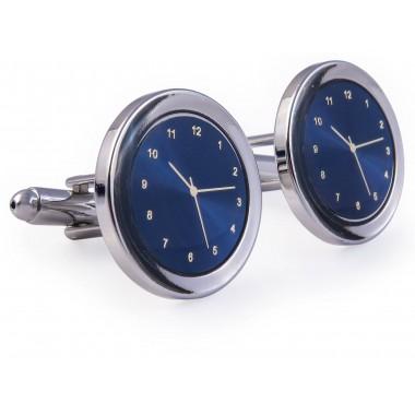 Srebrno-niebieskie spinki do mankietów - zegarki A140