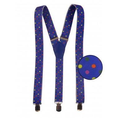 Niebieskie szelki w kolorowe kropki unisex X21