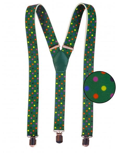 Zielone szelki w kolorowe kropki unisex X20