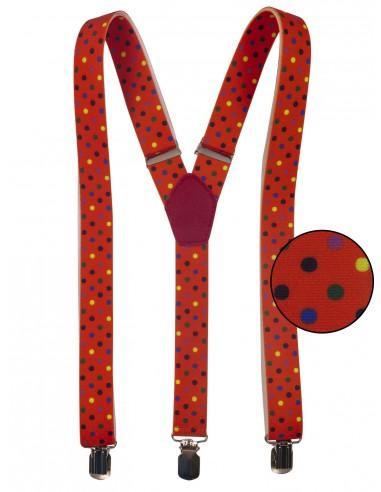 Pomarańczowe szelki w kolorowe kropki unisex X19
