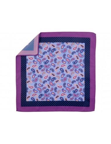 Niebiesko-fioletowa poszetka we wzór paisley E139