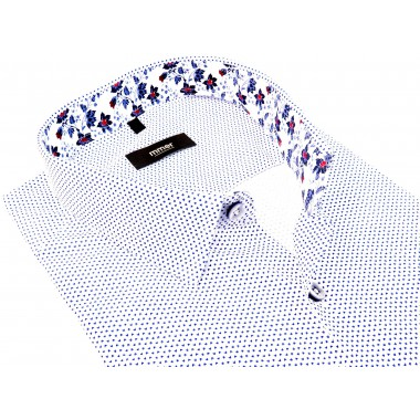 Biała koszula męska w drobny wzór 644