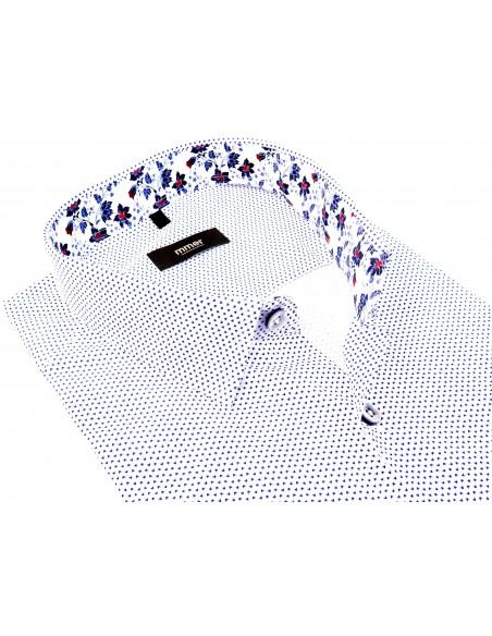 Biała koszula z krótkim rękawem w drobny wzór 644