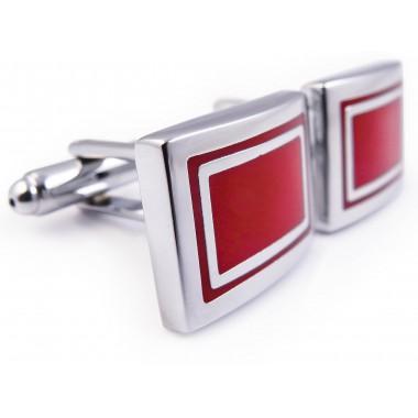 Srebrno-czerwone spinki do mankietów - prostokąty N62