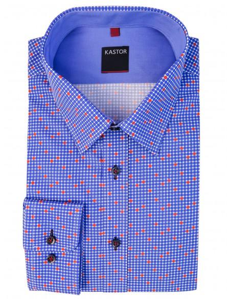 Niebieska koszula męska w kratkę K64