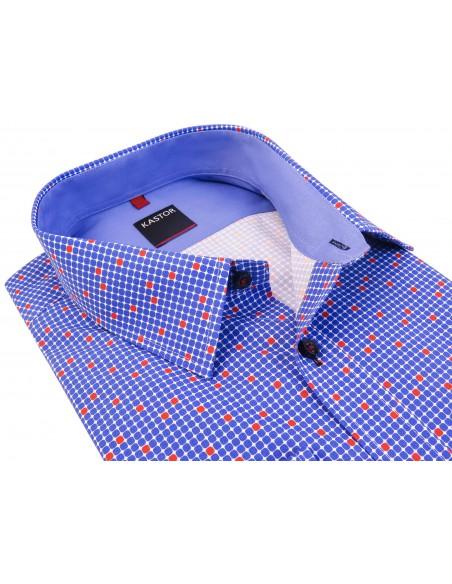 Koszula męska w niebieskie i czerwone kwadraciki K64