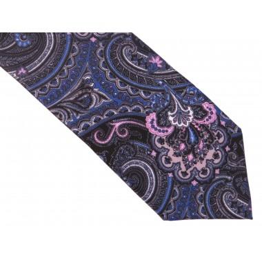 Granatowy krawat w niebiesko-różowy wzór paisley D138
