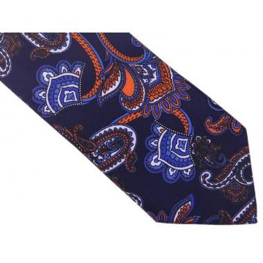 Granatowy krawat w pomarańczowy wzór paisley D140