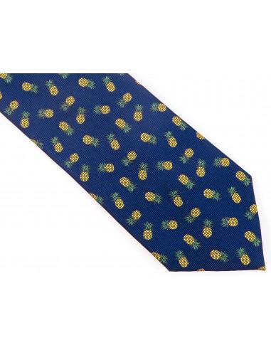 Granatowy krawat w niebiesko-fioletowy wzór paisley D139