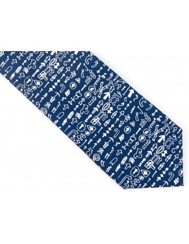 Granatowy krawat w strzałki D148