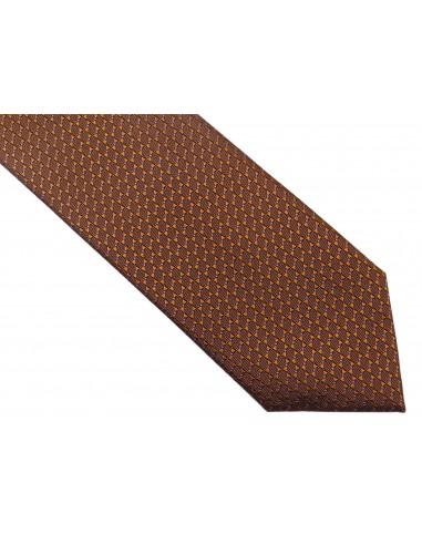 Miedziany krawat w drobny wzór D151