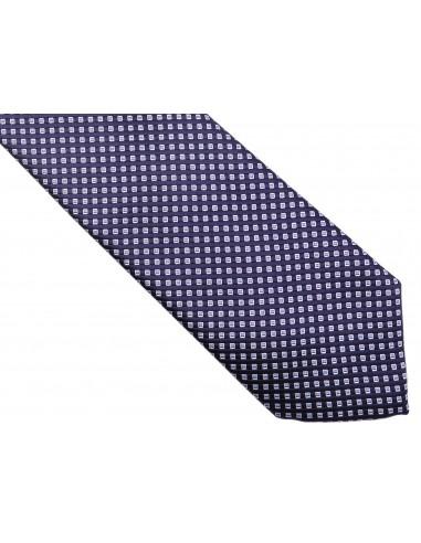 Granatowy krawat w kratkę D154