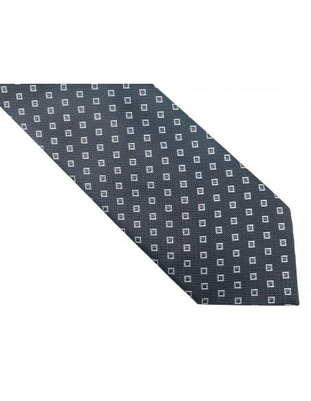 Szary krawat w kwadraciki D156