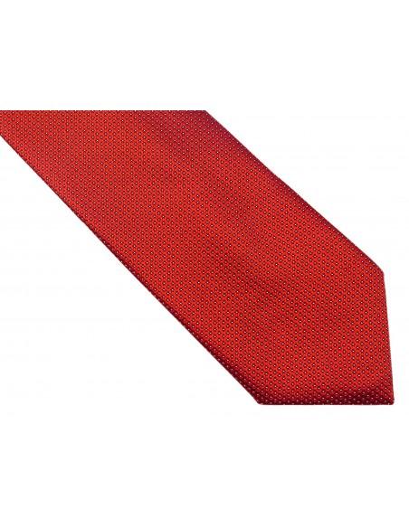 Czerwony krawat w kropki D160