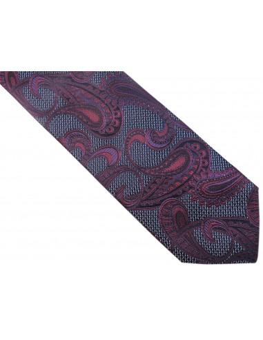 Granatowy krawat w granatowo-fioletowy wzór paisley D164