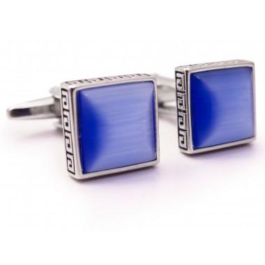 Niebieskie kwadratowe spinki do mankietów z greckim ornamentem U149