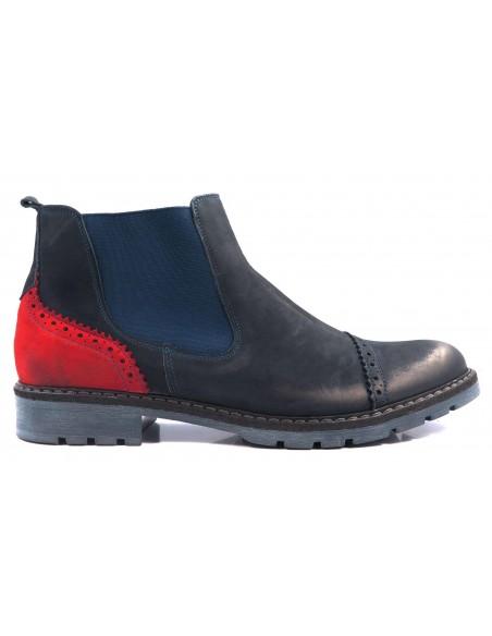 Granatowo-czerwone obuwie zimowe T63
