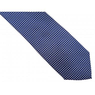 Granatowy krawat w białe kropki D169