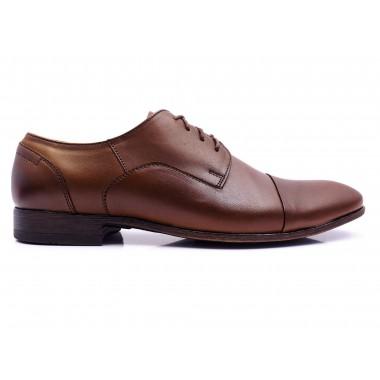 Brązowe półmatowe męskie buty wizytowe T97