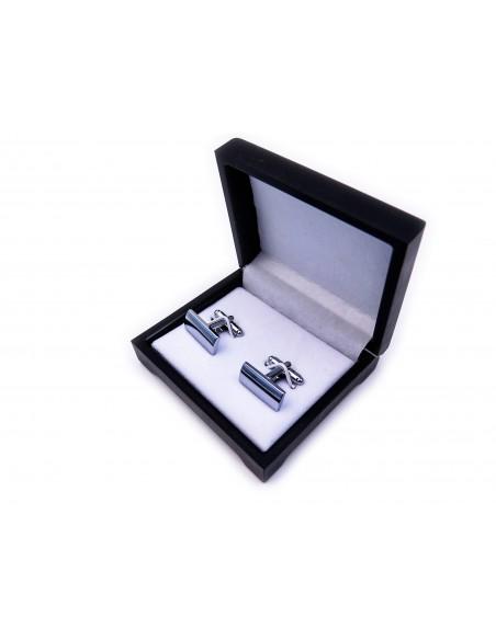 Gładkie, srebrne spinki do mankietów N65