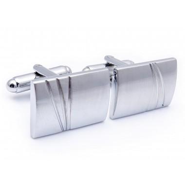 Prostokątne, srebrne spinki do mankietów N68