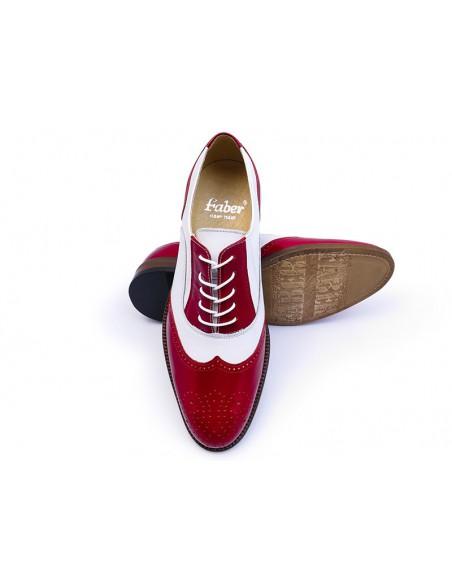 Czerwono-białe obuwie męskie - spektatory T98