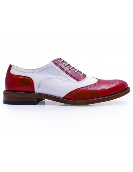 Czerwono-białe obuwie męskie - spektatory, caponki T98