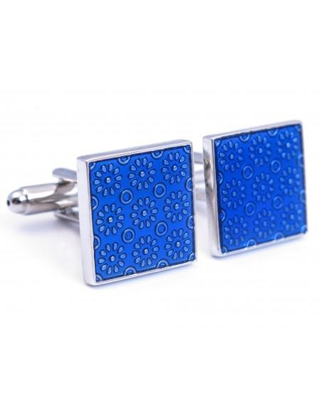 Kwadratowe niebieskie spinki do mankietów - kwiaty U159