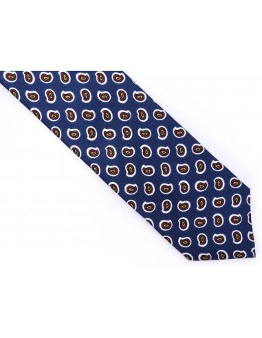 Granatowy jedwabny krawat we wzór - paisley R7